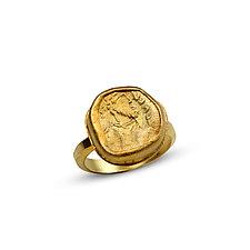 Roman Warrior Ring, Size 8.5 by Nancy Troske (Gold Ring)