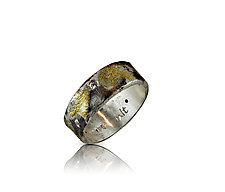 Black Sand Diamond Head Ring by Nancy Troske (Gold, Silver & Stone Ring, Size 6.5)