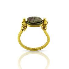 Egyptian New Kingdom Authentic Scarab Ring by Nancy Troske (Gold & Stone Ring)