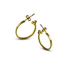 Hammered Roman Hoop Earrings by Nancy Troske (Gold Earrings)