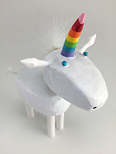 Rainbow Unicorn by Hilary Pfeifer (Wood Sculpture)
