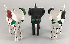 Holiday Dog Figure by Hilary Pfeifer (Wood Sculpture)