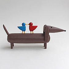 Doxie with Lovebirds by Hilary Pfeifer (Wood Sculpture)