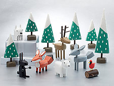 Winter Forest Scene Sets by Hilary Pfeifer (Wood Sculpture)