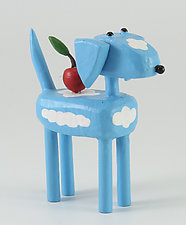 Blue Sky Dog with Apple by Hilary Pfeifer (Wood Sculpture)