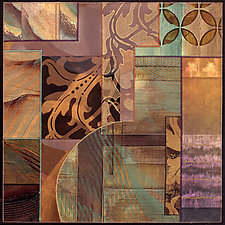 Blue Moons Variations No.3 by Karen McCarthy (Mixed-Media Collage)