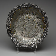 Metallic Silver Bowl with Intricate Rim by Lois Sattler (Ceramic Bowl)