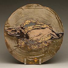 Green Metallic Platter with Pool of Gold by Lois Sattler (Ceramic Platter)