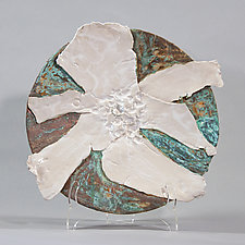 Copper Patina Platter With White Flower by Lois Sattler (Ceramic Wall Platter)