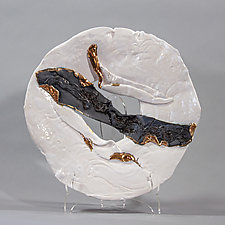 White and Black Platter With Gold Accents by Lois Sattler (Ceramic Wall Platter)