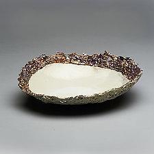 Porcelain Bowl with Intricate Gold Luster Trim by Lois Sattler (Ceramic Bowl)