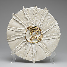 Sunflower Platter with Halcyon Gold Pistil by Lois Sattler (Ceramic Platter)