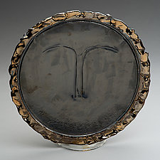 Face Platter with Gold Luster Trim by Lois Sattler (Ceramic Platter)
