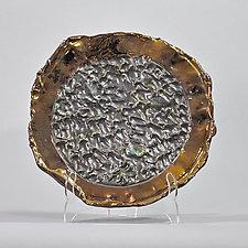 Bronze Platter With Metallic Pewter Center by Lois Sattler (Ceramic Wall Platter)