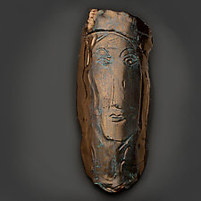 Bronze-Glazed Mask by Lois Sattler (Ceramic Wall Sculpture)