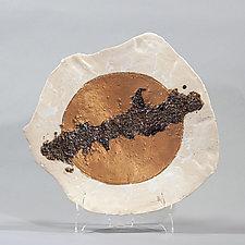 White Platter With Golden Sun by Lois Sattler (Ceramic Wall Platter)