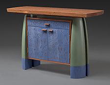 Bubinga Split-Leg Console by Mark Del Guidice (Wood Console Table)