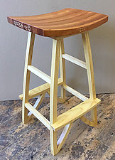 Ash and Hieroglyphs Stool by Mark Del Guidice (Wood Stool)