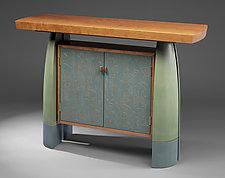 Cherry Split-Leg Console by Mark Del Guidice (Wood Console Table)