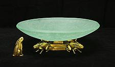 Rabbit Bowl by Georgia Pozycinski and Joseph Pozycinski (Art Glass & Bronze Sculpture)