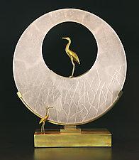 Heron Sculpture by Georgia Pozycinski and Joseph Pozycinski (Art Glass & Bronze Sculpture)