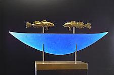 Stargazer Boat by Georgia Pozycinski and Joseph Pozycinski (Art Glass & Bronze Sculpture)