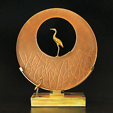 Heron Sculpture by Georgia Pozycinski and Joseph Pozycinski (Art Glass & Bronze Sculpture)