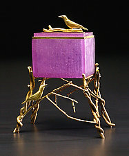Purple Crow Box by Georgia Pozycinski and Joseph Pozycinski (Art Glass & Bronze Sculpture)