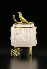 Crow Box with Nest by Georgia Pozycinski and Joseph Pozycinski (Art Glass & Bronze Sculpture)