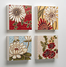 Caroline, Evelyn, Blair, Natasha Wooden Tiles by Karen Deans (Pigment Print on Wood)