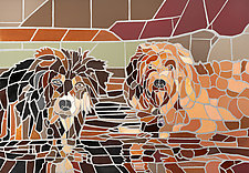Two Dogs Playing in Water by Jonathan I. Mandell (Mosaic Wall Sculpture & Giclee Print)