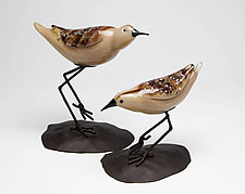 Shorebirds Pair II by Janet Nicholson and Rick Nicholson (Art Glass Sculpture)