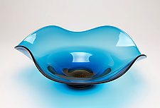 Aqua Wave Dichroic Bowl by Janet Nicholson and Rick Nicholson (Art Glass Bowl)
