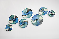 The Blues by Janet Nicholson and Rick Nicholson (Art Glass Wall Sculpture)