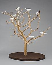 Birds in Trees - Tabletop by Chris  Stiles (Ceramic & Wood Sculpture)