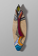Faces of the Future No. 3 by Erik Wolken (Wood Wall Sculpture)