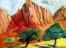 Red Hills With Green Trees, Sedona by Bruce Klein (Acrylic Painting)