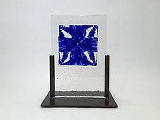 Indigo Float Casting by Dierk Van Keppel (Art Glass Sculpture)