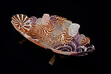 Amber and Violet Zanfirico Boat by Dierk Van Keppel (Art Glass Bowl)