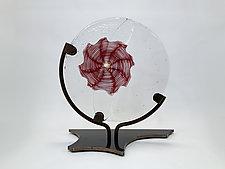 Crimson Circular Float by Dierk Van Keppel (Art Glass Sculpture)