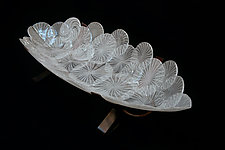 White Zanfirico Boat by Dierk Van Keppel (Art Glass Bowl)