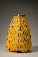 Yellow Cathead Basket by Jackie Abrams (Fiber Basket)
