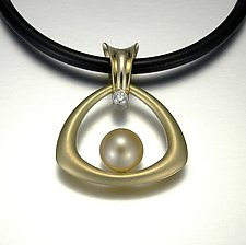 Golden South Sea Pearl Necklace by Britt Anderson (Gold, Platinum & Stone Necklace)