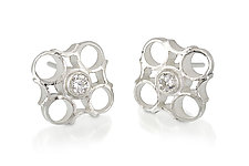 Small Checks Stud Earrings by Thea Izzi (Silver & Stone Earrings)