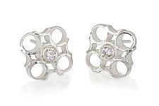 Small Checks Stud Earrings by Thea Izzi (Silver & Stone Earrings)