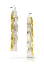 Linear Spinnaker Earrings by Thea Izzi (Gold & Silver Earrings)