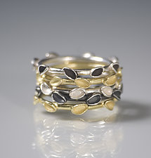 Stacking Floral Rings by Analya Cespedes (Gold & Silver Rings)