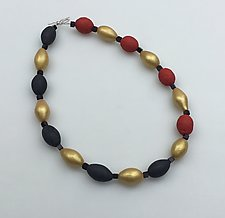 Charcoal, Red, and Gold Necklace by Klara Borbas (Polymer Clay Necklace)