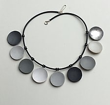 Nine Gray Disc Necklace by Klara Borbas (Polymer Clay Necklace)
