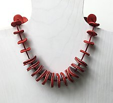 Red and Silver Necklace by Klara Borbas (Polymer Clay Necklace)